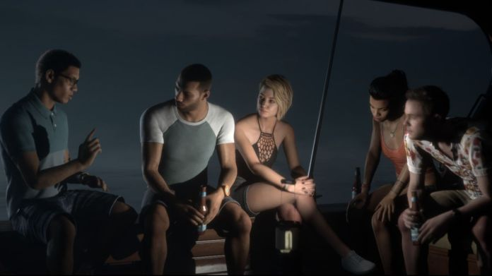 five people sit on a boat around a lantern as one of them tells a scary story