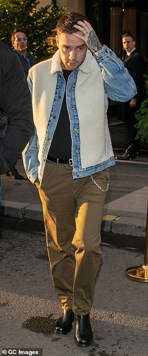 Out and about: Following his comments, Liam cut a casual figure as he stepped out in Paris on Wednesday