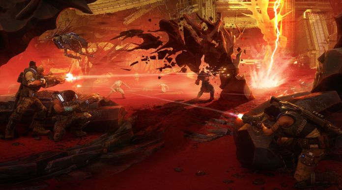 three soldiers and a flying robot battling in the desert in Gears 5