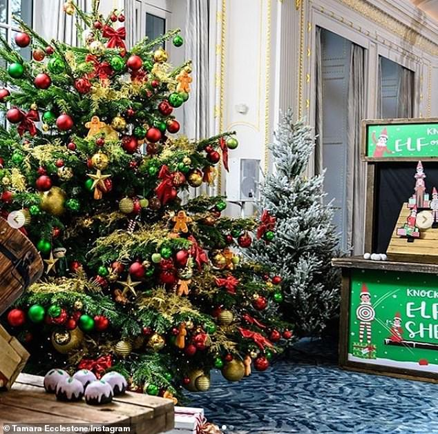 Magical: There were snow frosted trees and majestic Christmas trees with ornate decorations dotted about the grand hall