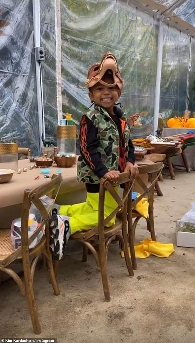Sweetheart:Kim Kardashian was at the helm of party planning once again to create an incredible Jurassic Park themed spread for Sain'ts fourth birthday