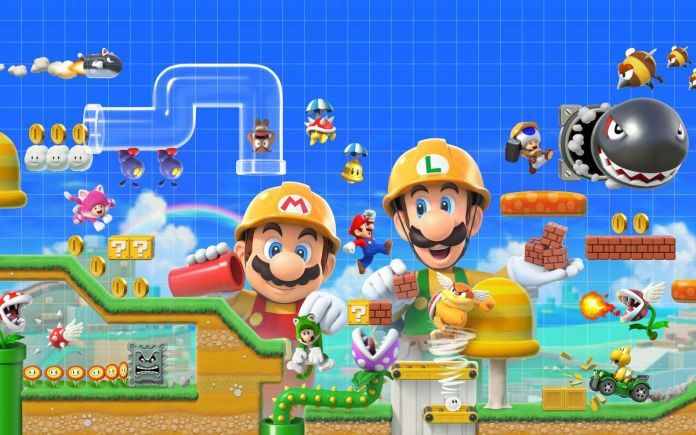 Artwork of Mario and Luigi building a stage from Super Mario Maker 2