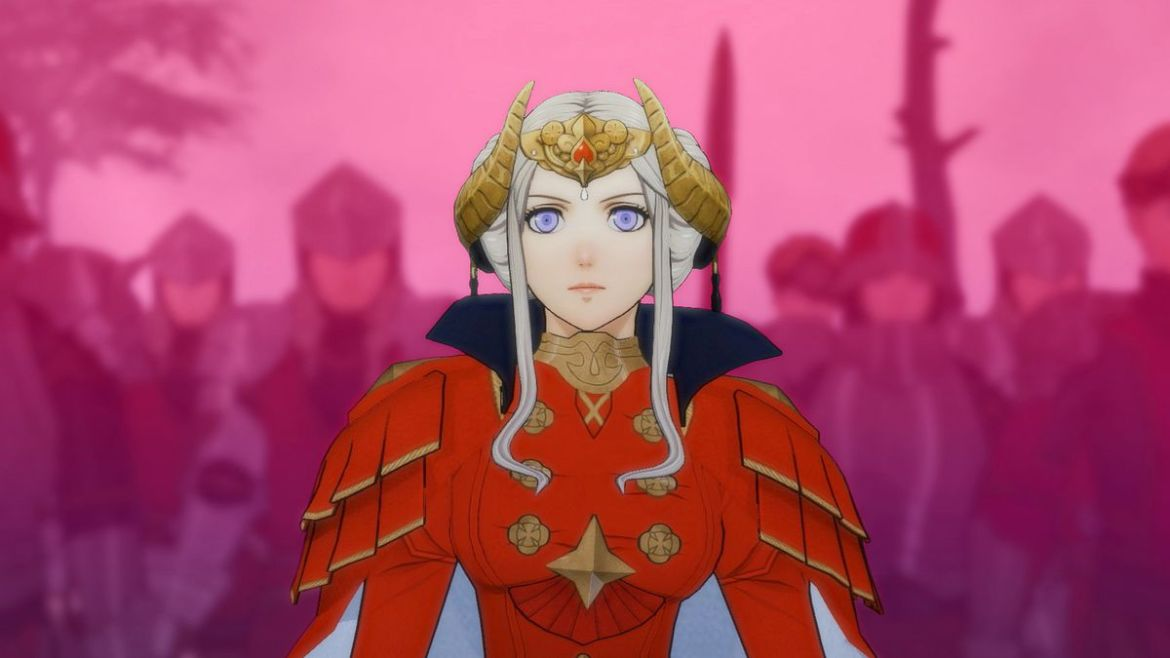 Female character from Fire Emblem video game for the Nintendo Switch stares into the distance