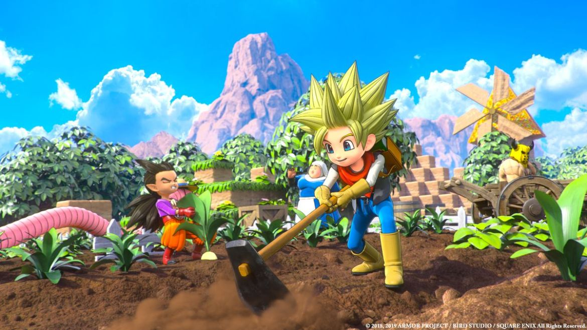 a boy with spiky yellow hair swinging a sledgehammer in Dragon Quest Builders 2