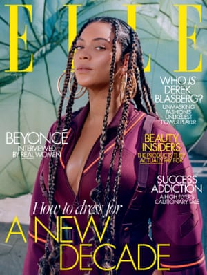 Elle UK's January 2020 cover photograph of Beyoncé. The January issue of Elle UK is on sale from 12 December 2019.