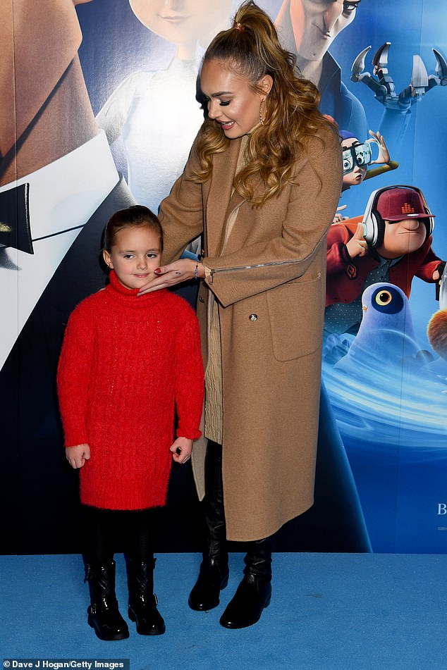 Adorable:The Formula One heiress and philanthropist, 35, gently raised Sophia's head after she started looking down while they posed together on the screening's blue carpet