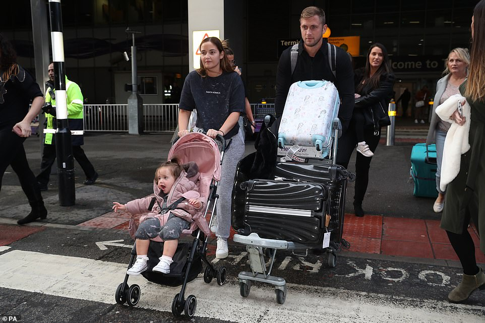 Family: The EastEnders actress, 27, was accompanied by husband Dan Osborne, 28 and their daughters Ella, four, and Mia, one