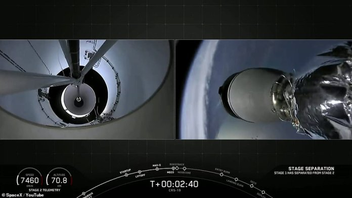 The Dragon safely deployed from the rocket and is coasting towards the International Space Station– it will reach the craft in three days and spend a total of 30 before returning to Earth with other research and cargo