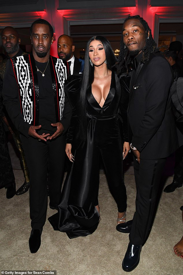 A-list: Music heavyweights Cardi B and Offset posed for a snap alongside Diddy at the bash