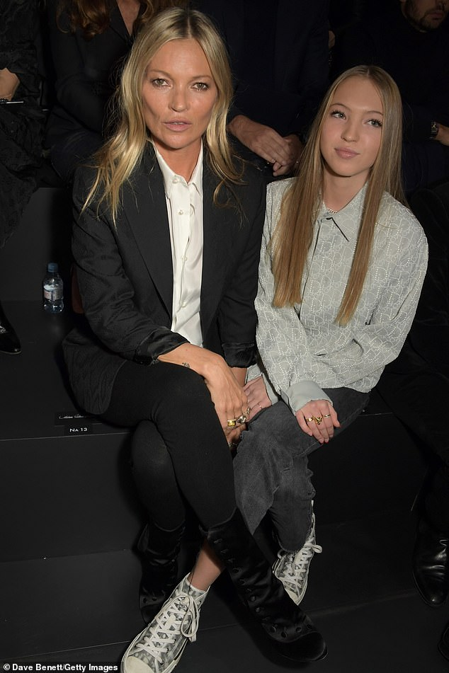 Fashionistas: Kate Moss and daughter Lila Grace Moss Hack put on a stylish display while watching the Dior Homme Menswear Fall/Winter 2020-2021 show in Paris, France on Friday