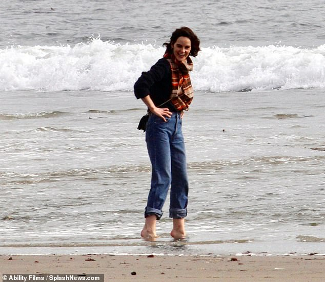 Beach day:Michelle Dockery enjoyed a break from her hectic schedule as she visited the beach in Malibu, California with her friends this week
