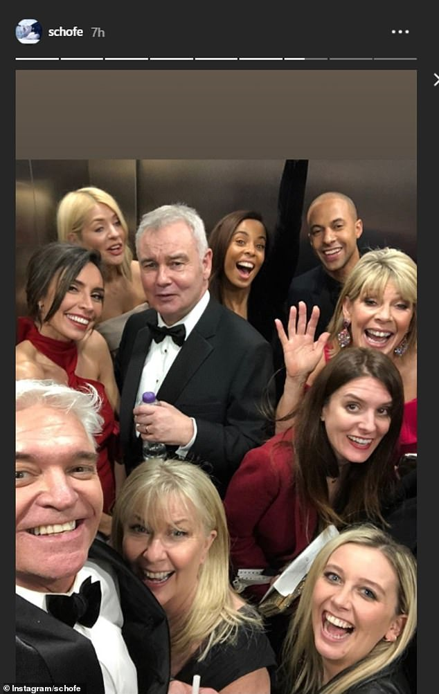 What feud? Phillip Schofield, Ruth Langsford and Suranne Jones led the celebrities sharing behind-the-scenes snaps of the awards to social media