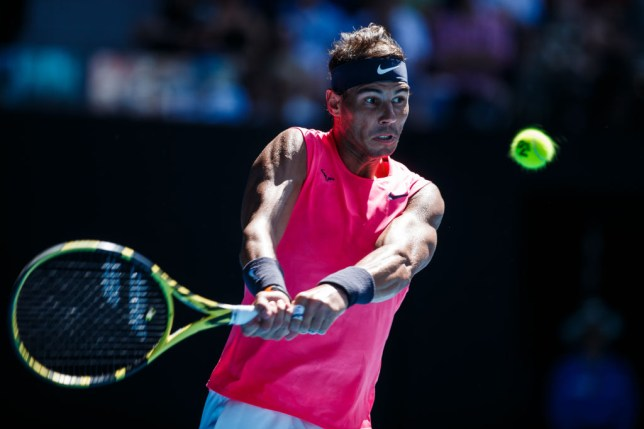 Rafeal Nadal of Spain plays a backhand in his first round match against Hugo Dellien of Bolivia on day two of the 2020 Australian Open at Melbourne Park on January 21, 2020 in Melbourne, Australia.