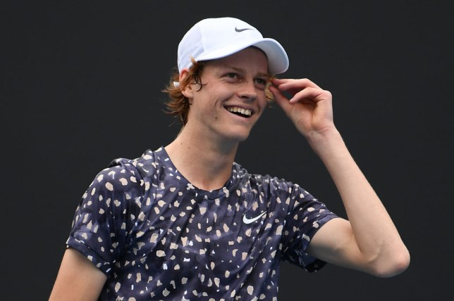 Jannik Sinner of Italy reacts during his Men's Singles first round match against Max Purcell of Australia on day one of the 2020 Australian Open at Melbourne Park on January 20, 2020 in Melbourne, Australia.