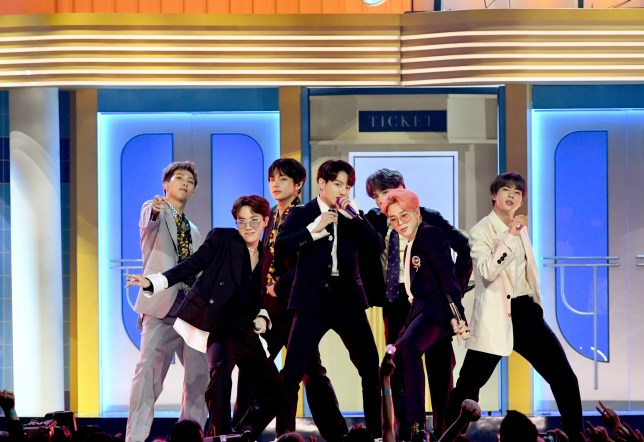BTS performing onstage during the 2019 Billboard Music Awards
