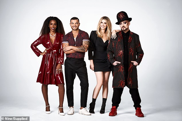 The lineup: Pictured (from left to right) are coaches Kelly Rowland, Guy Sebastian, Delta Goodrem and Boy George