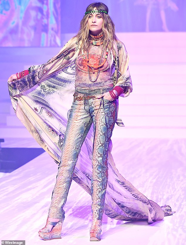 It's like 1968 all over again!Paris Jackson was seen on the catwalk forJean-Paul Gaultier's final runway show during Paris Fashion Week on Wednesday