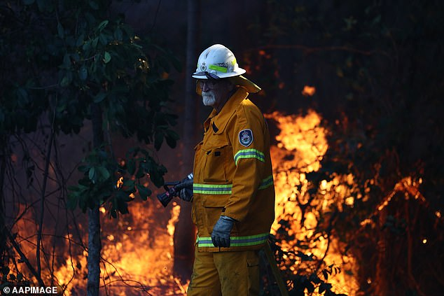 Brave: 'My Australians of the year, the RFS what incredible people,' Scott wrote. Pictured is a firefighter in Angourie on the north coast of NSW in September