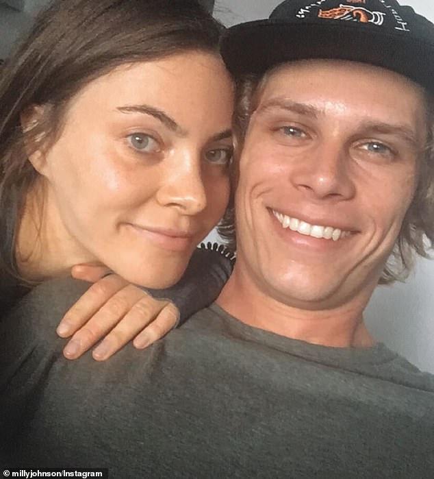 Tragic: She was left heartbroken when her ex-fiancé Micah Downey, 26, died from 'a mixture of illegal and prescription drugs' last month (the pair are pictured together)