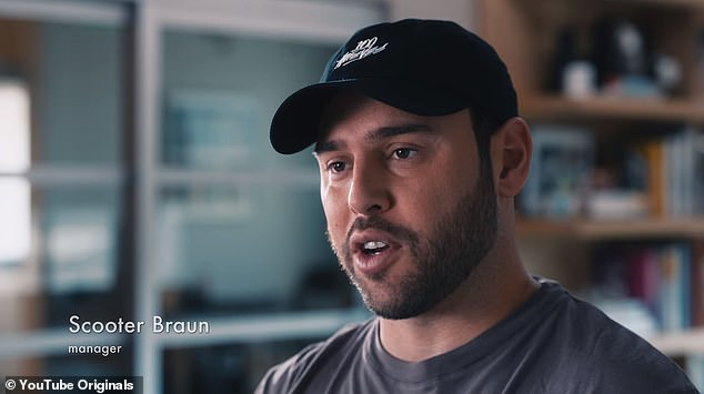 Taking some blame: Justin's longtime manager Scooter Braun admitted that he 'pushed' the star to 'keep performing' even when he needed a break
