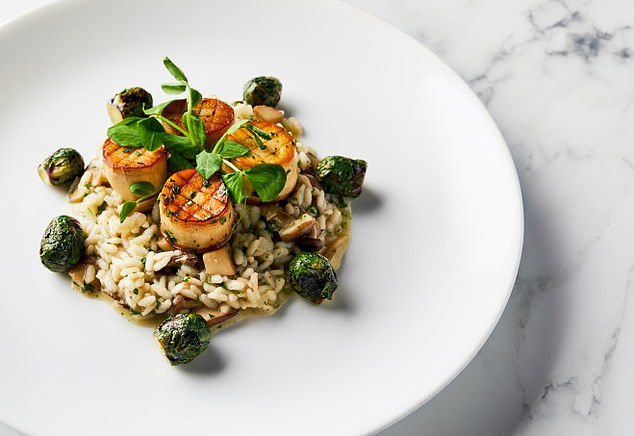 Delicious: Originally, Golden Globes guests were to be offered a Chilean sea bass dish but instead it was changed to king oyster mushroom 'scallops' with wild mushroom risotto and vegetables (pictured)