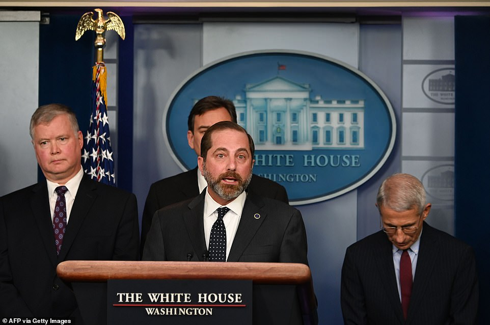 During a Friday briefing, the White House's newly assembled task force for the ongoing coronavirus outbreak declared it a public health emergency in the US. HHS Secretary Alex Azar (center) announced that most foreign nationals will be barred from entry and citizens returning from China will face various grades of quarantines