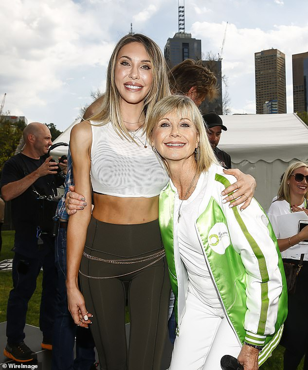 An advocate: Olivia has been a passionate advocate for medicinal cannabis, with her Cancer and Wellness Centre launching trials this year. She has also spent time lobbying the Australian government to approve the use of the treatment. Pictured here with daughter Chloe Lattanzi