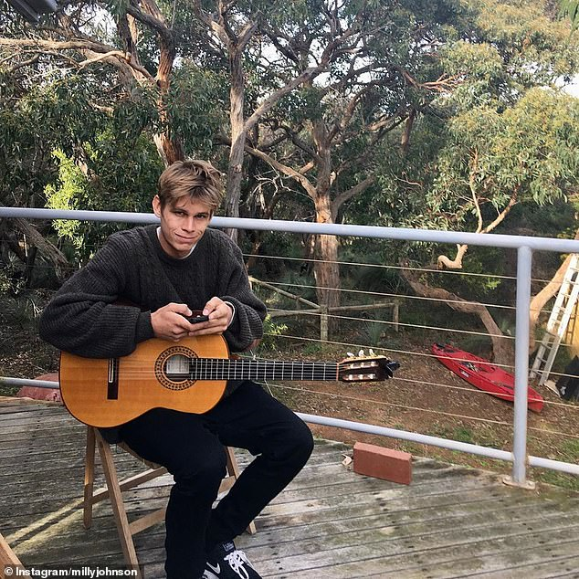 'I can't believe you're not here': Milly announced Micah's death on December 31, sharing a snap of him on Instagram where he was playing the guitar
