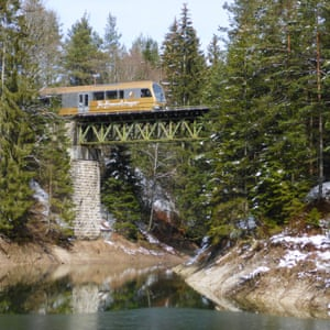 Mariazell Railway of NOVOG on the Eselgrabenbrucke over a tributary of the Erlaufstausee, Austria.