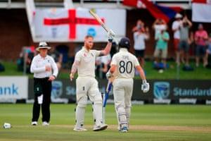 England's Ben Stokes celebrates after scoring a century.