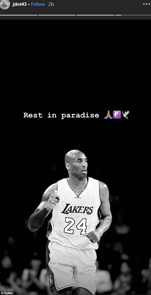 Tribute: Jonah Bolden, a Melburnian signed to the Philadelphia 76ers, also tweeted a photo of Kobe, alongside the caption: 'Rest in paradise'