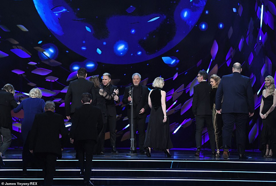 Deep impact! The Gavin & Stacey cast took to the stage to accept their gong