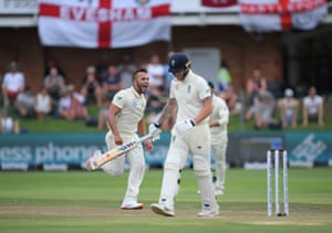 south Africa bowler Dane Paterson celebrates his first test wicket of Ben Stokes of England.