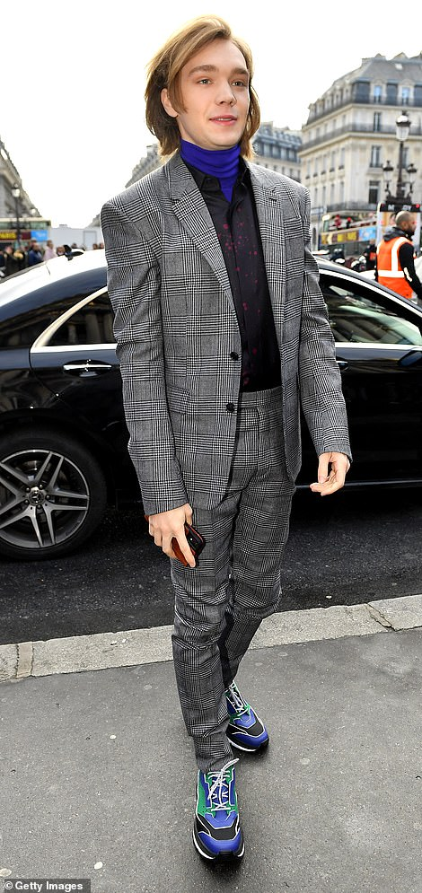Smart: Actor Charlie Plummer was suited and booted in grey checked co-ords