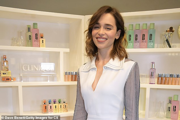 Gorgeous:The actress - who was recently unveiled as Clinique's new Global Brand Ambassador - was radiant in her chic ensemble which boasted sheer pin-striped sleeves