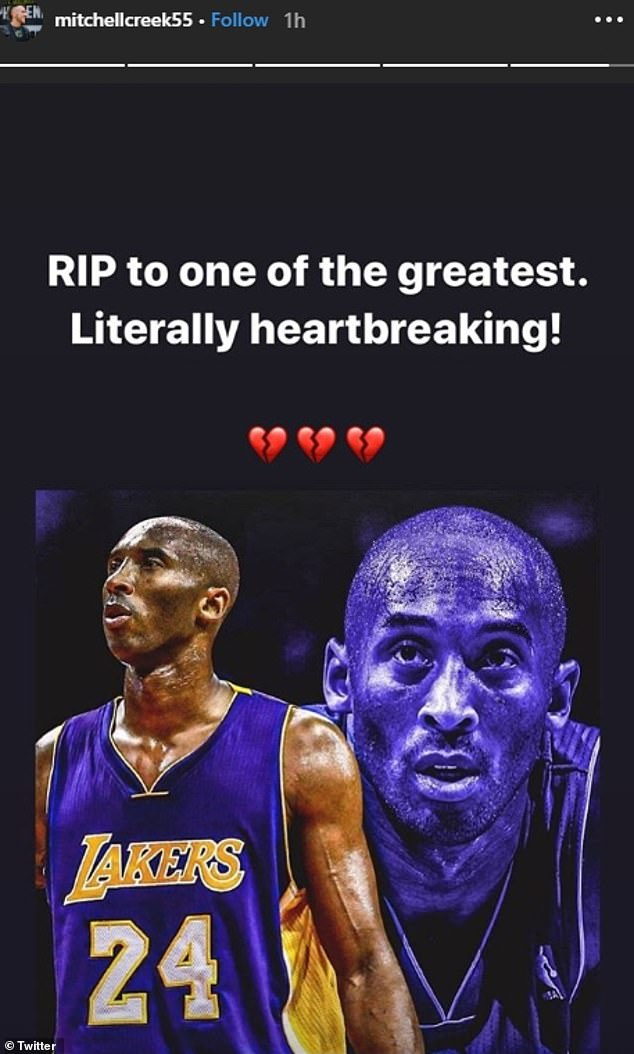 Tragedy: Mitch Creek, who hails from Horsham, Victoria, and made his NBA debut for the Brooklyn Nets earlier this month, wrote: 'RIP to one of the greatest. Literally heartbreaking!'