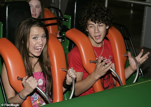 Throwback: Miley had a teenage relationship with her fellow Disney Channel star and pop singer Nick Jonas; pictured in February 2007