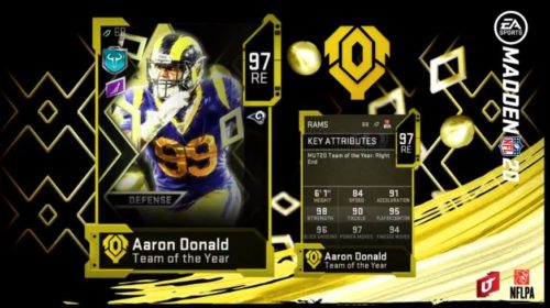 Aaron Donald's MUT TOTY card