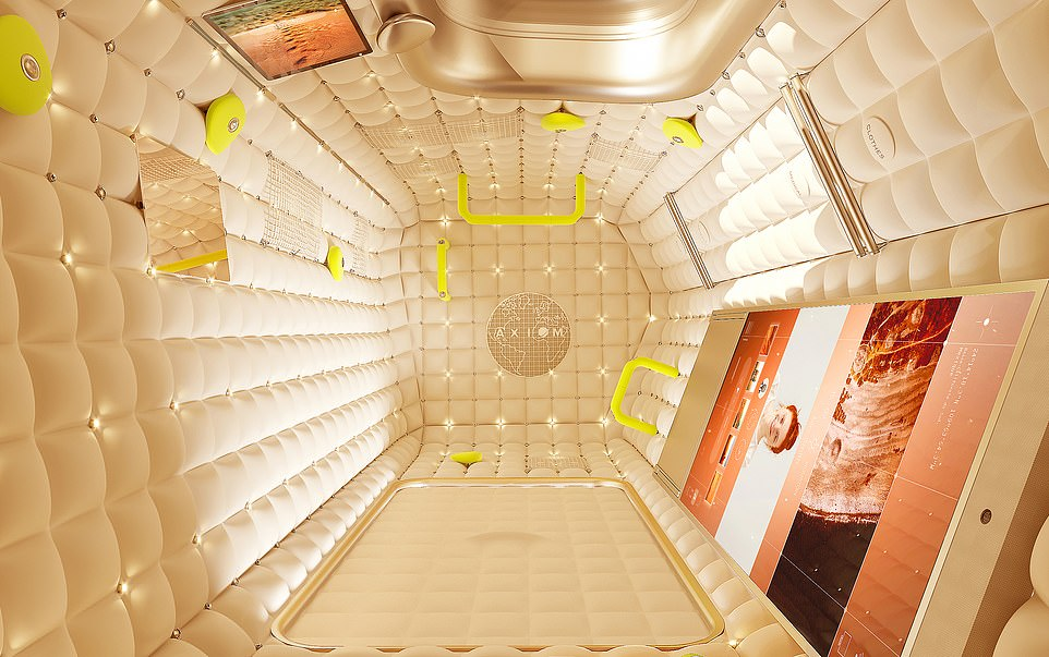 The cosy nests have touchscreens embedded in the walls, as well as LED lights, mirrors and the all-important handrails for navigating one's self around in low gravity