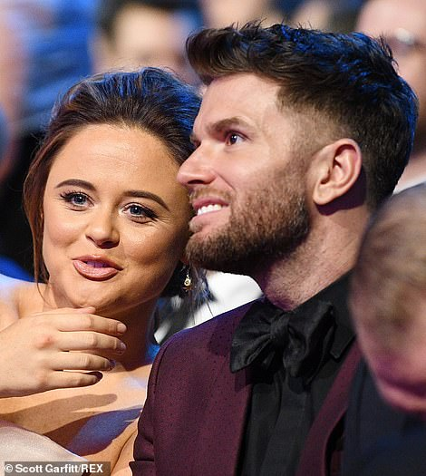 Double trouble: Emily Atack and Joel Dommett shared a joke