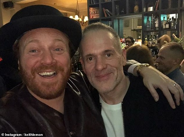 Pals:Chris Moyles displayed his svelte new look as he posed for a selfie with presenter Keith Lemon following a night out together on Friday