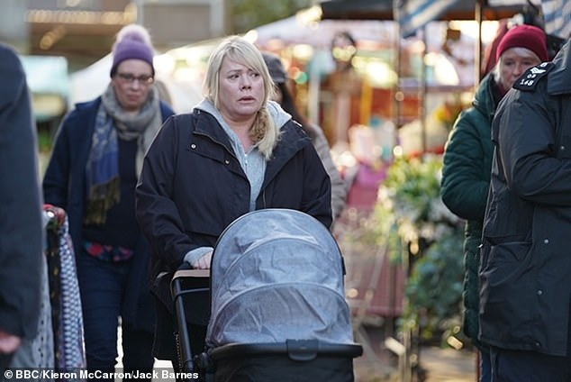 Grieving: The BBC soap will return on Monday as Sharon Mitchell, played by Letitia Dean, returns to the Square, struggling to cope with Dennis' death while caring for her newborn