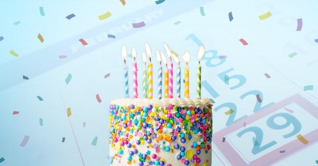 birthday cake against a calendar open at february 29