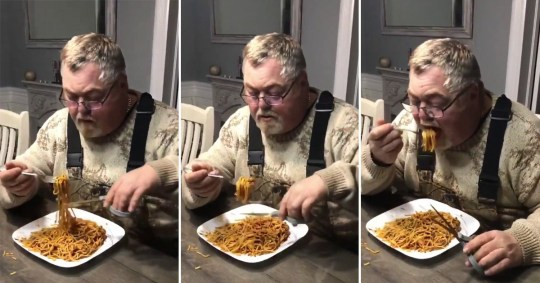 Man twirling spaghetti, cutting off the excess and eating the rest