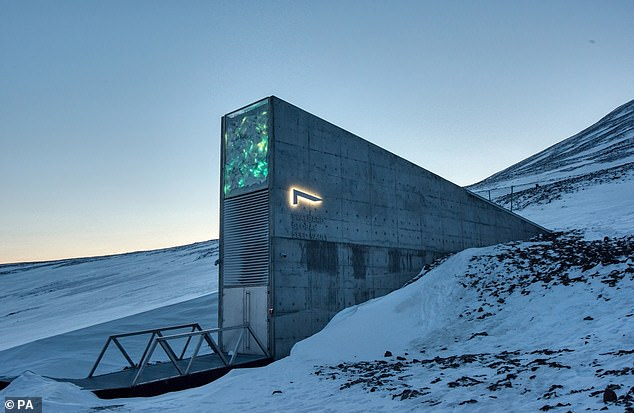 Wild meadow seeds from Prince Charles' Highgrove residence are among the new plant species being added to the Arctic 'doomsday vault', the entrance to which is pictured