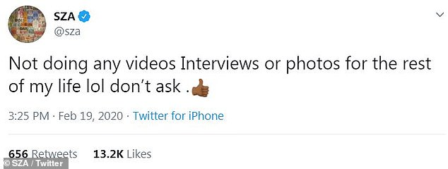 No interviews: 'Not doing any videos Interviews or photos for the rest of my life lol don't ask,' along with a thumbs up emoji
