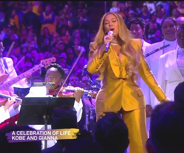 Powerful:Taking to the stage at the Staples Center in Los Angeles, she opened proceedings