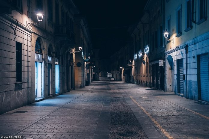 An empty street at night in San Fiorano, one of the eleven Italian towns on lockdown due to the coronavirus outbreak