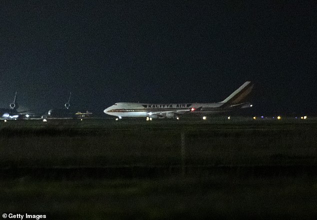Despite the US earlier saying no infected passenger would be allowed to leave, those who tested positive were still allowed to board the planes because they did not have symptoms. Pictured: One of the two planes landing at Travis Air Force Base in California, which the Goldmans were on