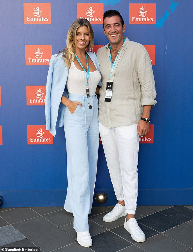 Public sighting: While at the Australian Open earlier this month, the pair coordinated their attire and embraced one another as they posed for photos on the media wall